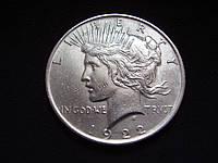 "Серебряная монета США, 1 доллар ""Мирный доллар"" 1922 года, фото 1"