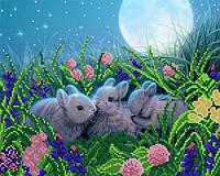 """Схема на ткани для вышивки """"Лунные кролики"""""""