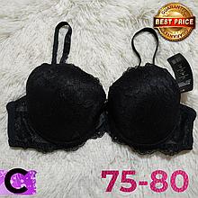 Чёрный бюстгальтер на поролоне кружевной женский лифчик чашка (C) 75~80 на 2 крючка 8309
