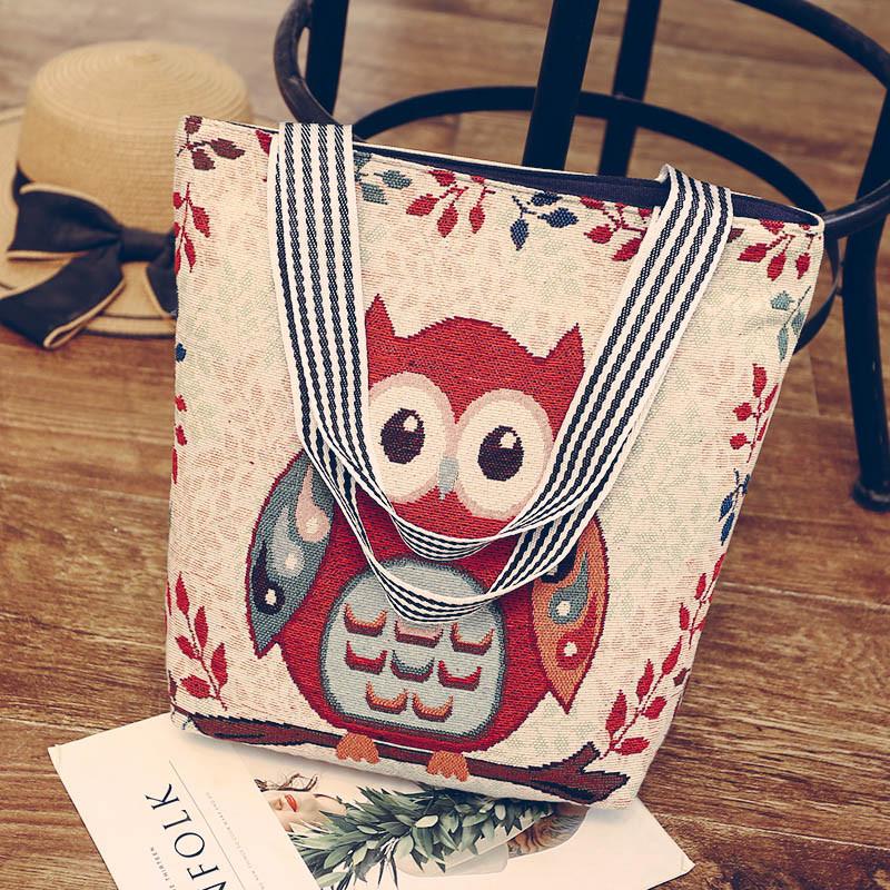 Эко-сумка бежевая с изображением совы