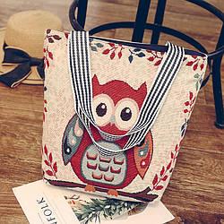 Эко-сумка бежевая с совой