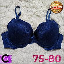 Синий бюстгальтер на поролоне кружевной женский лифчик чашка (C) 75~80 на 2 крючка 8309