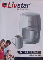 Кофеварка на 2 персоны livstar 1190, капельного типа, для приготовления кофе, две фарфоровые кружки в наборе