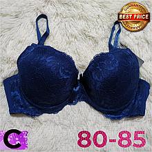 Синий бюстгальтер на поролоне кружевной женский лифчик чашка (C) 80~85 на 2 крючка 8309