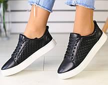 93c384de5 Модные женские кожаные кеды кроссовки на высокой подошве на платформе черные  на белой подошве RI82FR00HJ