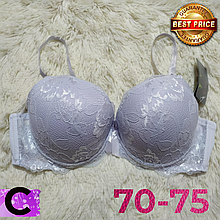 Белый бюстгальтер на поролоне кружевной женский лифчик чашка (C) 70~75 на 2 крючка 8309