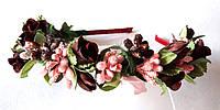 Обруч веночек ручной работы коричневые розы