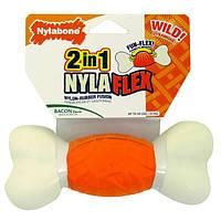 Nylabone НИЛАБОН игрушка кость для собак с умеренным стилем грызения, вкус бекона, нейлон-резина