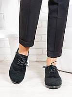 Женские Туфли оксфорд черные Натуральная замша
