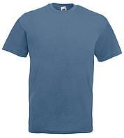 Футболка мужская однотонная 100% хлопок серо синяя