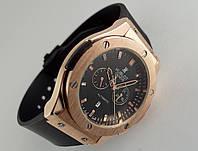 Мужские часы HUBLOT - Big Bang каучуковый черный ремешок, цвет золото, черный циферблат
