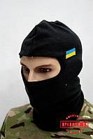 """Балаклава военная """"Черная флисовая с флажком"""", фото 1"""