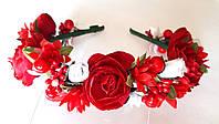 Обруч веночек ручной работы красные розы