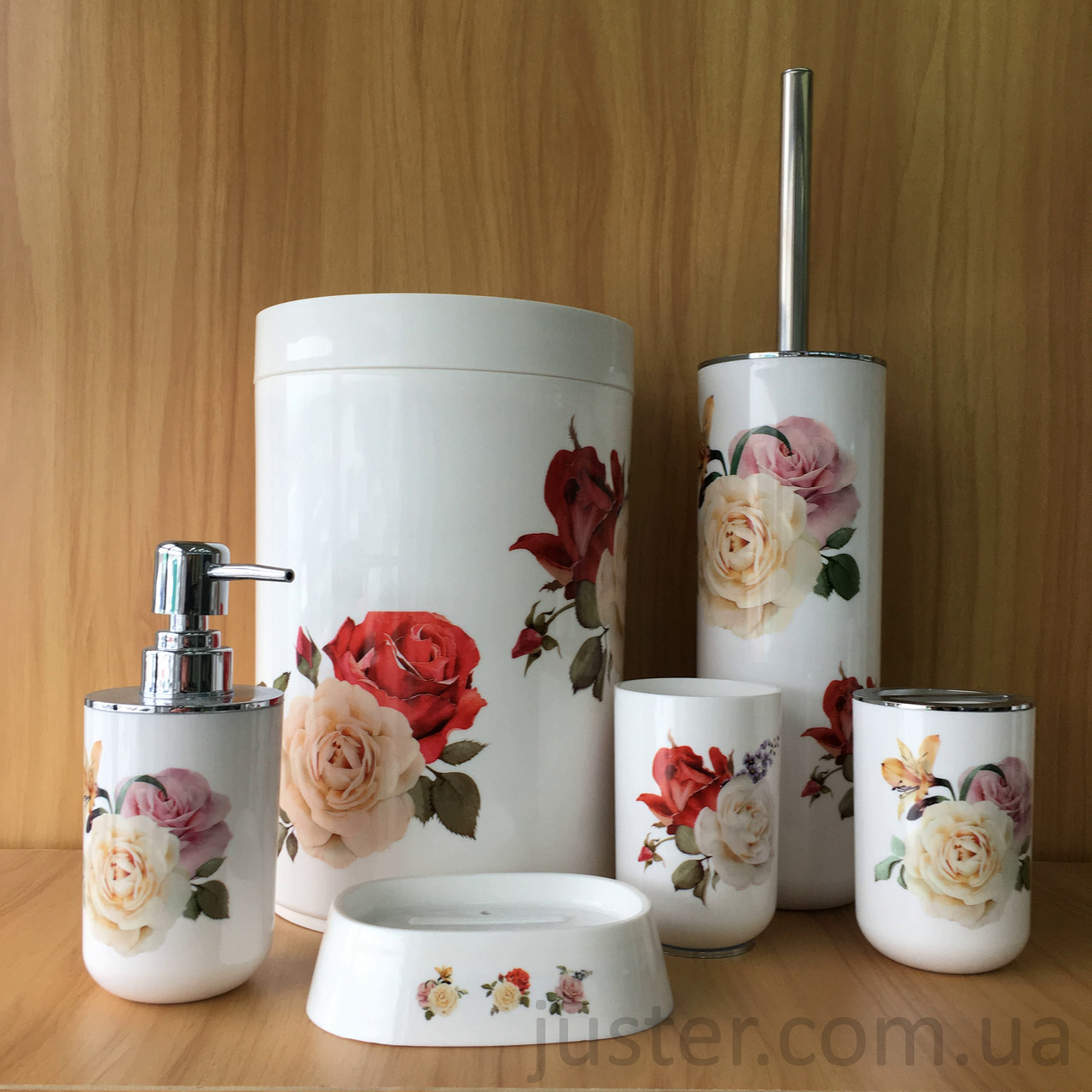 Набор аксессуаров для ванной комнаты Bathlux Natur Flowers на 6 предметов