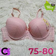 Бюстгальтер на поролоне кружевной нежно розовый женский лифчик чашка (C) 75~80 на 3 крючка 405