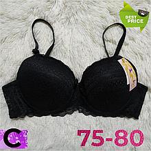 Бюстгальтер на поролоне кружевной чёрный женский лифчик чашка (C) 75~80 на 3 крючка 405