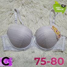 Бюстгальтер на поролоне кружевной белый женский лифчик чашка (C) 75~80 на 3 крючка 405