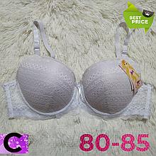 Бюстгальтер на поролоне кружевной белый женский лифчик чашка (C) 80~85 на 3 крючка 405