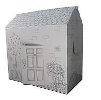 🔝 Раскраска домик, 94х100х56 см. Дерево и цветы, это, картонный домик, для детей. Доставим по Украине | 🎁%🚚
