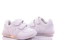 Детские белые кроссовки с мигалками для мальчиков и девочек Размеры 27-29