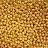 Драже Золото 4 мм - 25 гр., бусины для декорирования тортов, пирожных, капкейков