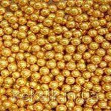 Золоті цукрові намистини прикраса для тістечок, тортів, капкейків, розміром 8 мм, фасовка 25 гр.