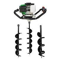 Мотобур бензиновый Grünwelt GW-EB523 (3 шнека 100,150, 200 мм) Бесплатная доставка , фото 1