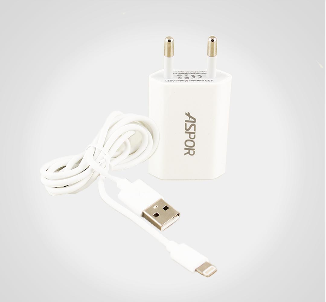 Сетевое зарядное устройство Aspor A821 1USB/1A Lightning for Iphone white