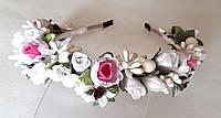 Обруч веночек ручной работы нежные розы