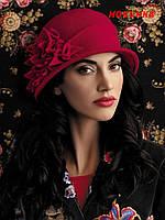 """Шляпа женская """"Лорита"""" - 001 красный, 283 чайная роза"""