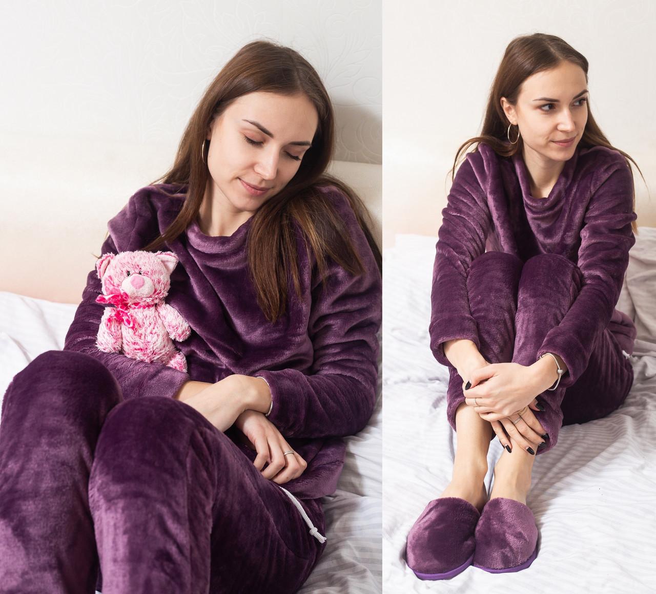 Плюшева піжама жіноча тепла кофта з брюками, комплект, фіолетова S. M. L