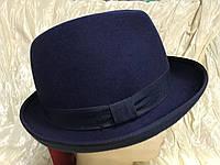 Мужская шляпа из фетра  маленькими полями загнутыми на верх 4.5 см цвет синий