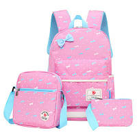 Рюкзак для маленьких принцесс + в подарок сумка на плече и кошелек. (нежно-розовый)
