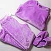 Плюшевая пижама женская теплая кофта с брюками, комплект, сиреневая S.M.L, фото 2