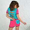 Спортивный костюм футболка и шорты розовый неон реплика reebok