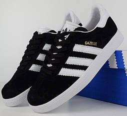Женские кроссовки Adidas gazelle black white. Живое фото. Топ качество! (Реплика ААА+)