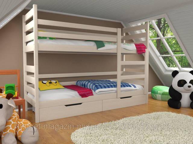 Кровать двухъярусная трансформер Твейс массив дерева усиленная модель без ящичков и бортиков
