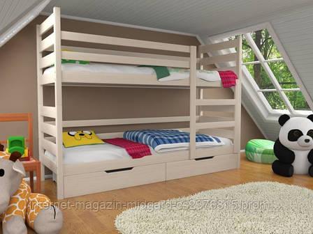 Кровать двухъярусная трансформер Твейс массив дерева усиленная модель без ящичков и бортиков, фото 2