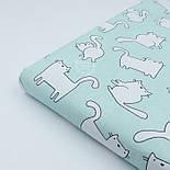 Ткань хлопковая с котами Бонифаций на светло-мятном фоне (№1963), фото 2