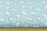 Ткань хлопковая с котами Бонифаций на светло-мятном фоне (№1963), фото 3