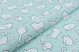 Ткань хлопковая с котами Бонифаций на светло-мятном фоне (№1963), фото 6