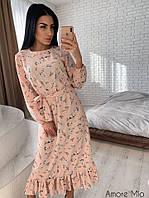 Платье женское нежное миди с пышной юбкой и оборкой цветочный принт Sml3029