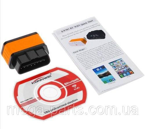 Автосканер Konnwei KW903 OBD 2 ELM327 V1.5 pic18f25k80 Bluetooth 3.0 оранжевый