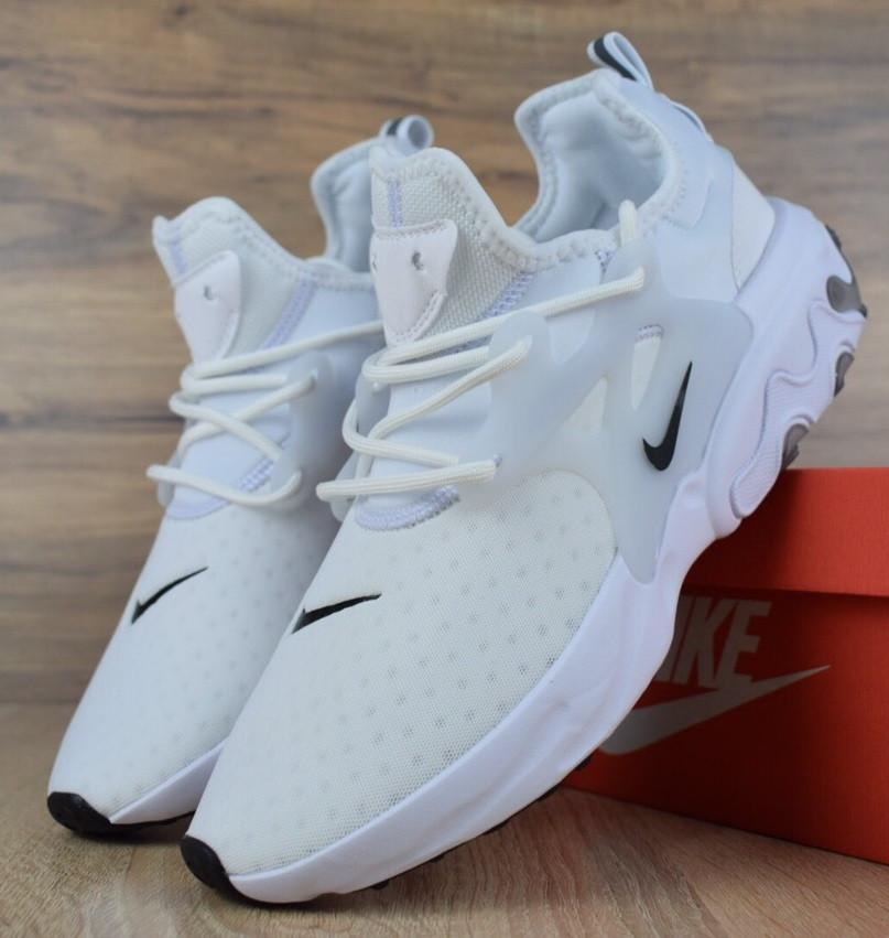 Мужские кроссовки N1ke Presto React белые/черный значок. Живое фото (Реплика ААА+)