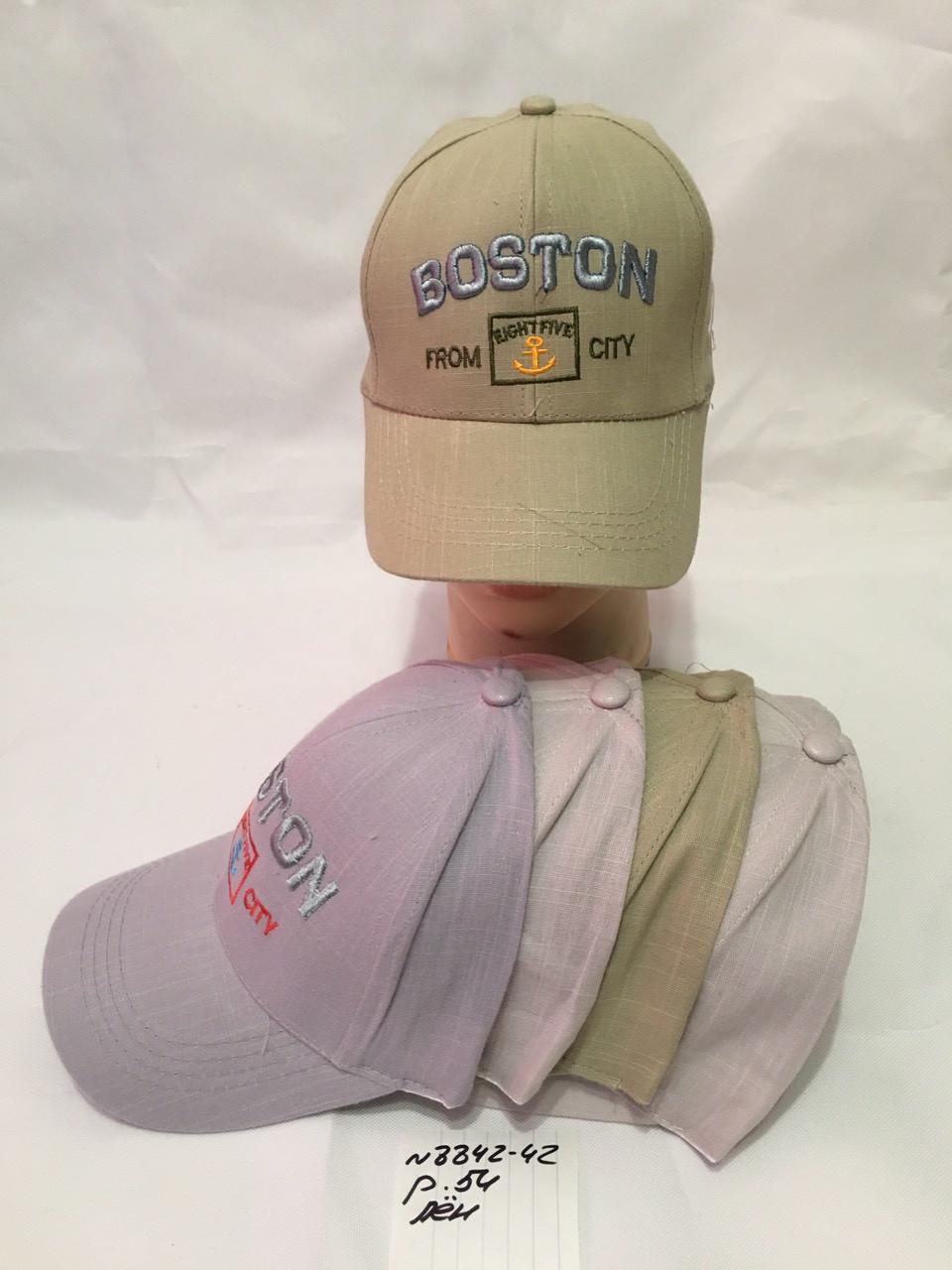 Подростковая однотонная кепка  для мальчика Boston р.54 лен