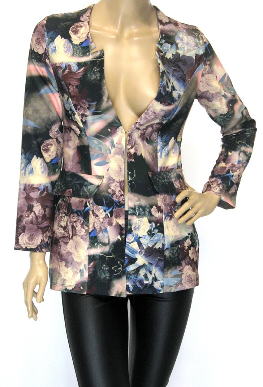 Жіночий короткий піджак з квітковим принтом Tree club