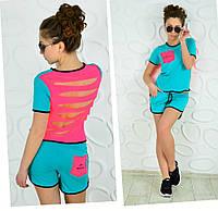 Спортивный костюм футболка и шорты ментол reebok, фото 1