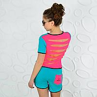 Спортивный костюм футболка и шорты ментол реплика reebok