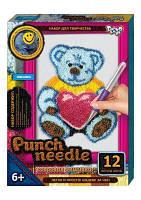 """Ковровая вышивка """"Punch needle: Медведь с сердечком"""""""