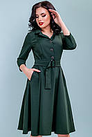 Платье с расклешенной юбкой на пуговицах 44-50 размера бутылочное, фото 1